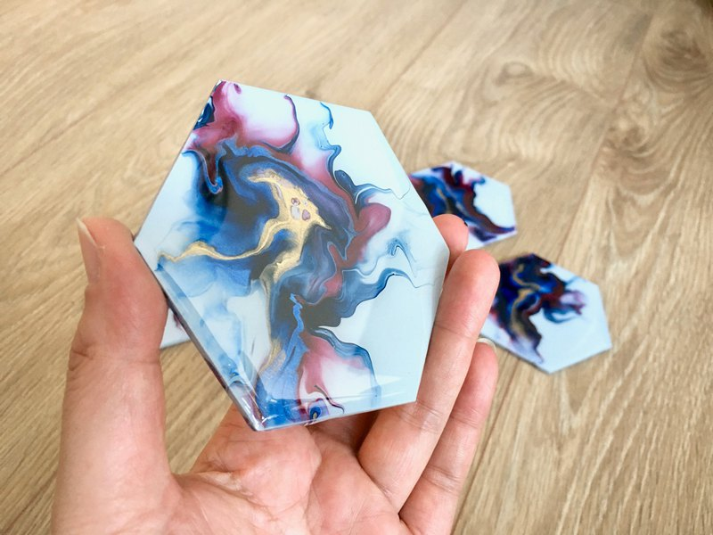 Hand Painted with Resin finished Wood Coaster, Home Gift, Functional Art