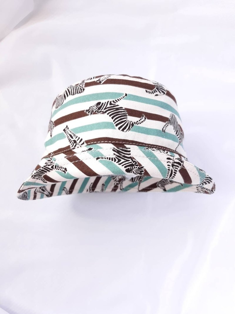 Coffee Lake Green Zebra Stripes Infant Fisherman's Hat