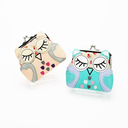 Sleeping Owl Kisslock Coin Purse peacl color + blue color/one set