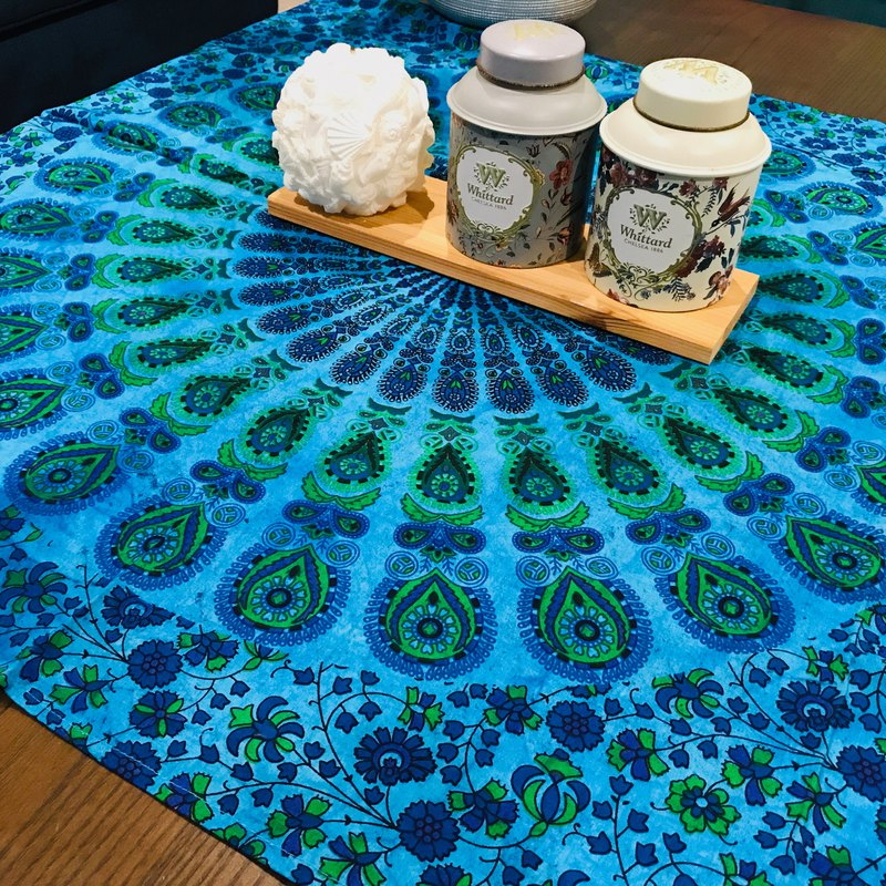 Peacock Mandala hand-painted multi-purpose household towel - blue (small)