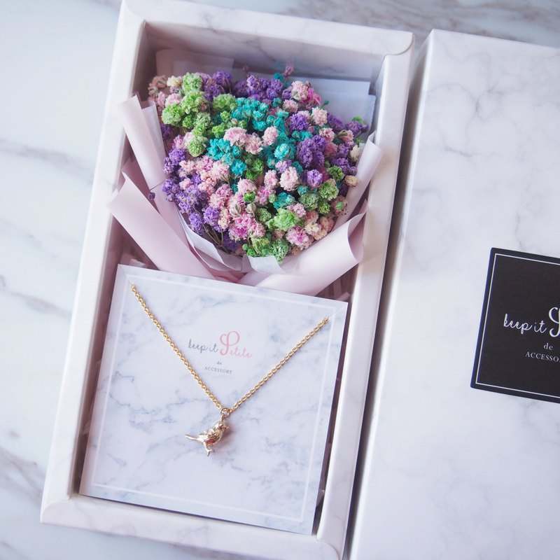 [Marble Pattern Gift Box Set] Colorful Dry Starry Bouquet + Gilded Bird Necklace