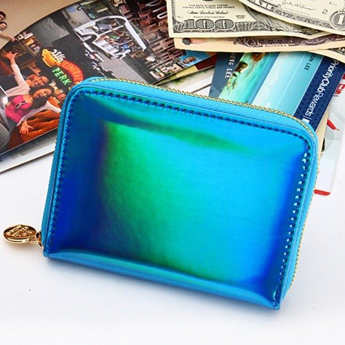 Korea Socharming-3D psychedelic organ short clip Holic Hologram Accordion Purse-Blue