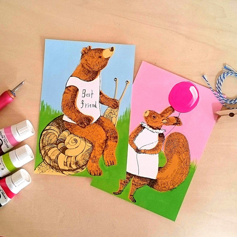 postcard bear and squirrel 2 pieces postcard 2sheets 两