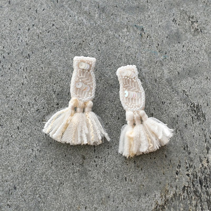 Bead embroidery tassel earrings