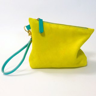 Summer refreshing lemon yellow velvet leather cosmetic bag / storage bag
