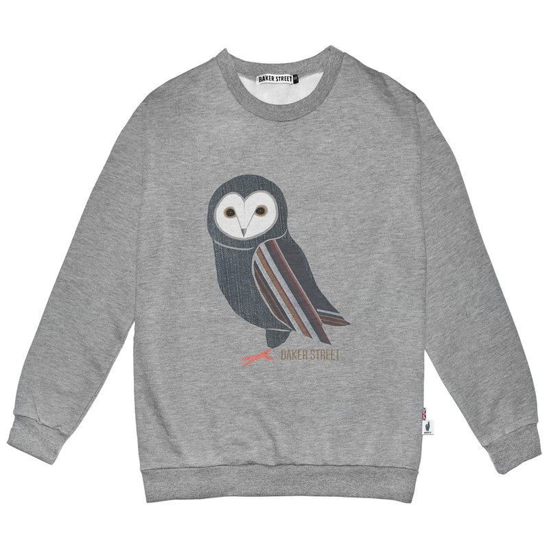 British Fashion Brand -Baker Street- Denim Owl Printed Sweater