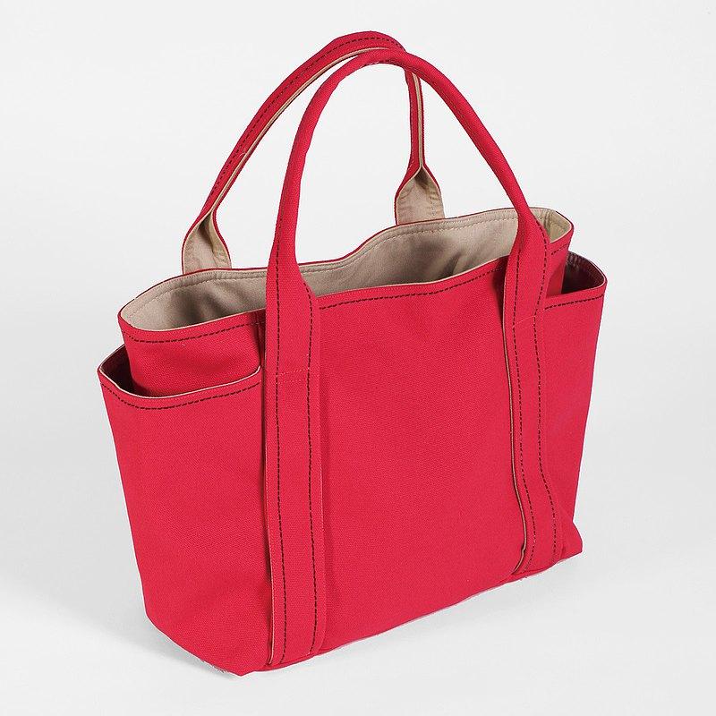 磁釦式/ 帆布萬用手提包-紅色(小型)
