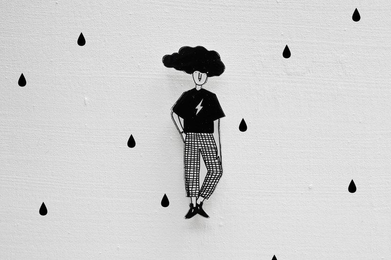 Miss Hairy Collection / Black and White Brooch / 012