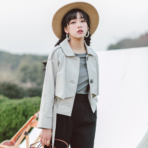Anne Chen 2018 spring and summer new style literary women's shirt solid color short windbreaker jacket