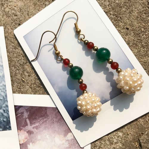 Lost and find [] National Wind natural stone pearl earrings