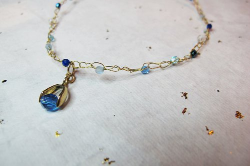 Seawater Blue Crystal Beads Snap Clavicle Bracelet