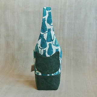 Mystery Green Cat - Kettle Bag / Mug Bag / Beverage Bag / Umbrella Bag