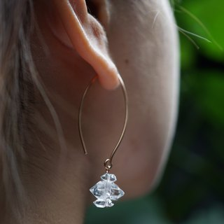 Double Terminated Herkimer Diamond Rose Gold 925 Earrings