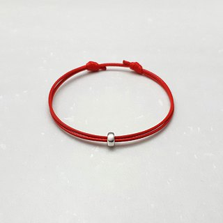 Wax line bracelet s925 sterling silver wheel beads plain simple wax rope thin line red rope red line