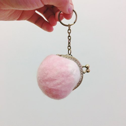 Handmade wool felt strawberry milk mouth gold package