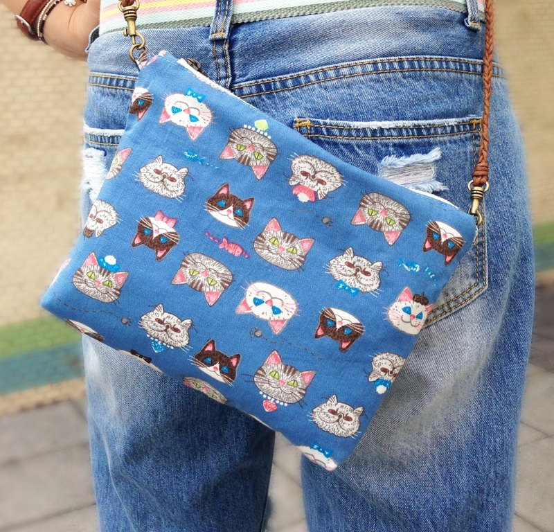 [Cat Master] side backpack (2 colors optional) / YKK zipper Messenger bag cat cat slave