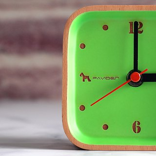 Reyana square table clock (apple green) beech