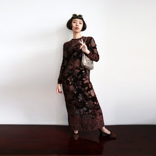 Pumpkin Vintage. Vintage suede pattern transparent dress