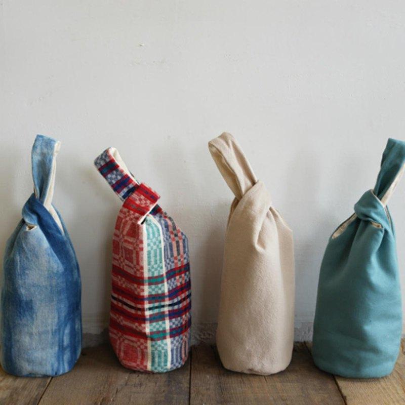 Blue dyed woven cloth color bag beverage bag quilted winter insulation  bottle bag water cup set accompanying portable bag - Time Ship - Beverage