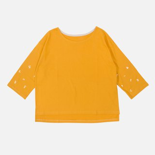 [HEYSUN] Digital Time Printed Seven-Sleeve Tops - Straw Yellow