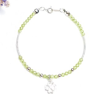 12 Constellation Guardian Stone - Leo Leo Peridot 925 Sterling Silver Bracelet Birthday Gift