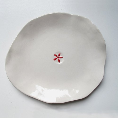 [Five Creative] - red flower pinching plate