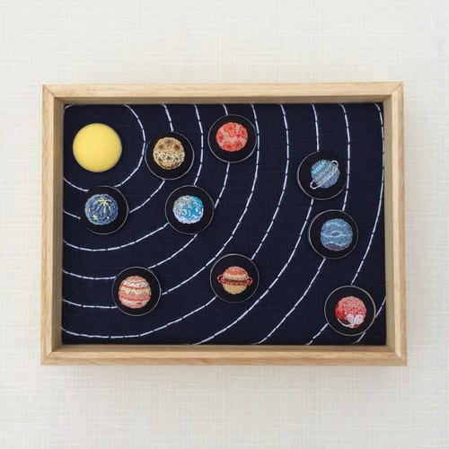 Nine planetary embroidery pins