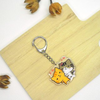 Brave cat small transparent key ring