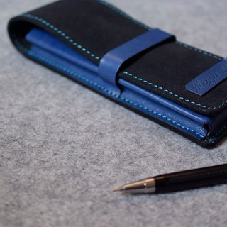 YOURS Leather Pencil Case 3 with Blue Suede + Blue Leather