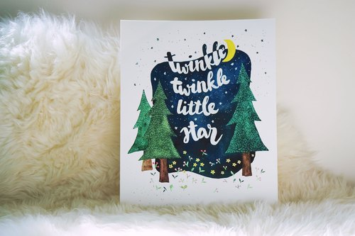 Twinkle Twinkle Little Star 8x10 Watercolor Art Print