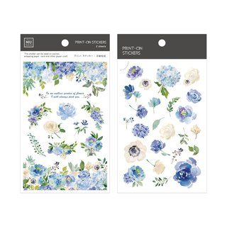 [Print-On Stickers] | Flower Series 39-Clarity Blue Rose | Pocket, DIY Friends