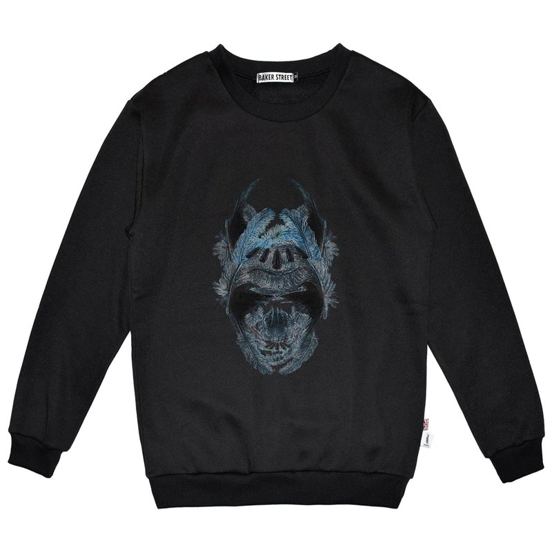British Fashion Brand -Baker Street- Blue Feather Skull Printed Sweater