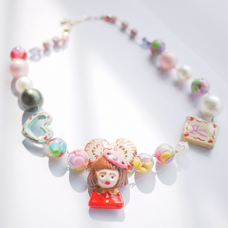 Clay Japanese Vintage Beaded Handmade Girl Asymmetric Necklace