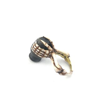 Zodiac Water Bearer bone ring is for Aquarius in Brass and realistic color ,Rocker jewelry ,Skull jewelry,Biker jewelry
