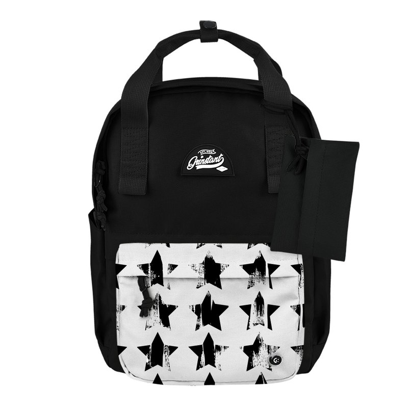 Grinstant mix and match detachable 13-inch backpack-black and white series (black with stars)