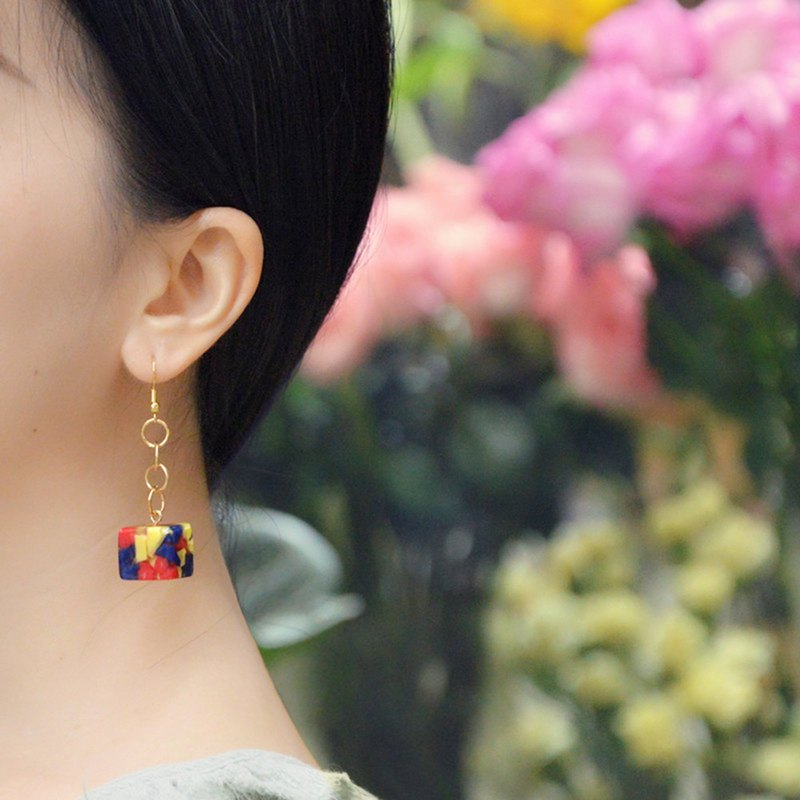 Square sugar earrings personality simple three primary color earrings temperament ear clip