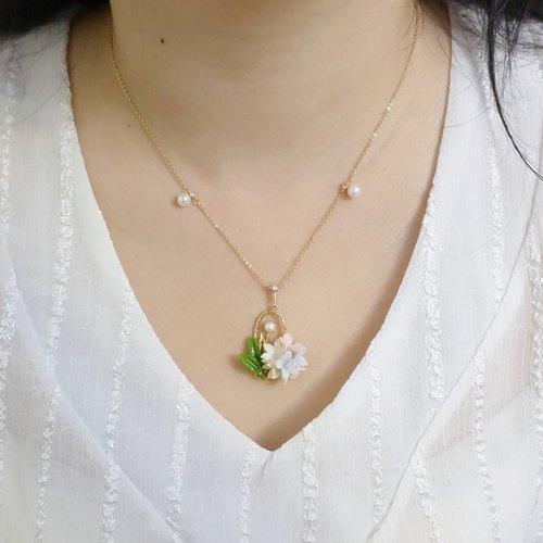 Floral Rose-Gold-Plated Crystal Necklace