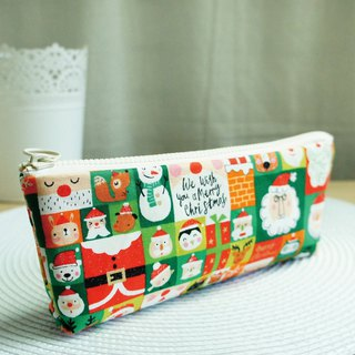Lovely [Japanese cloth order] happy Christmas green plaid pencil case, tool bag