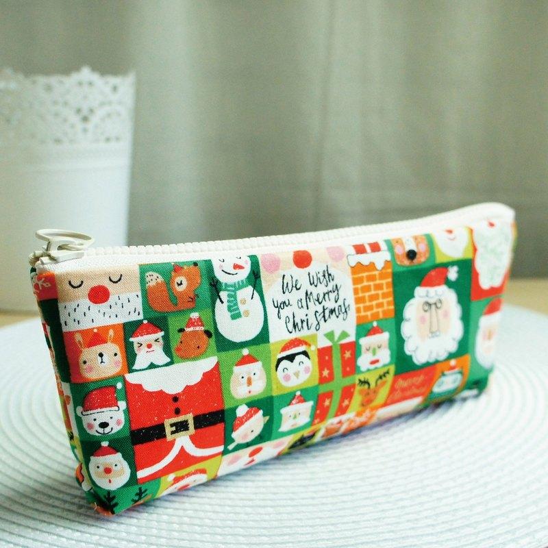 Lovely【日本布訂製】歡樂聖誕綠格子筆袋、工具袋