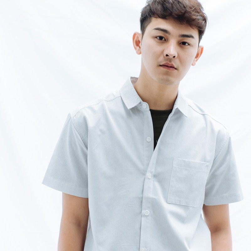 Hao Gray Striped Sleeve Shirt Grey Lined Short Sleeve Shirt