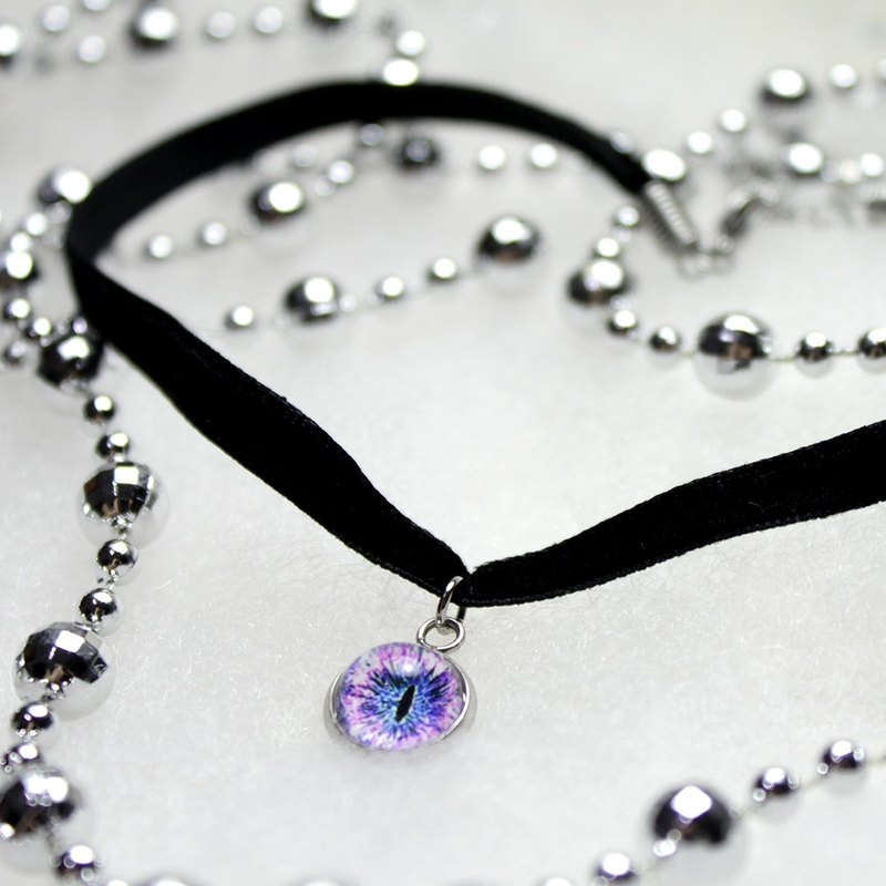 [Cat EYE] 10mm Cat's Eye Drops Ribbon Necklace 1 cm wide / 0.6 cm wide