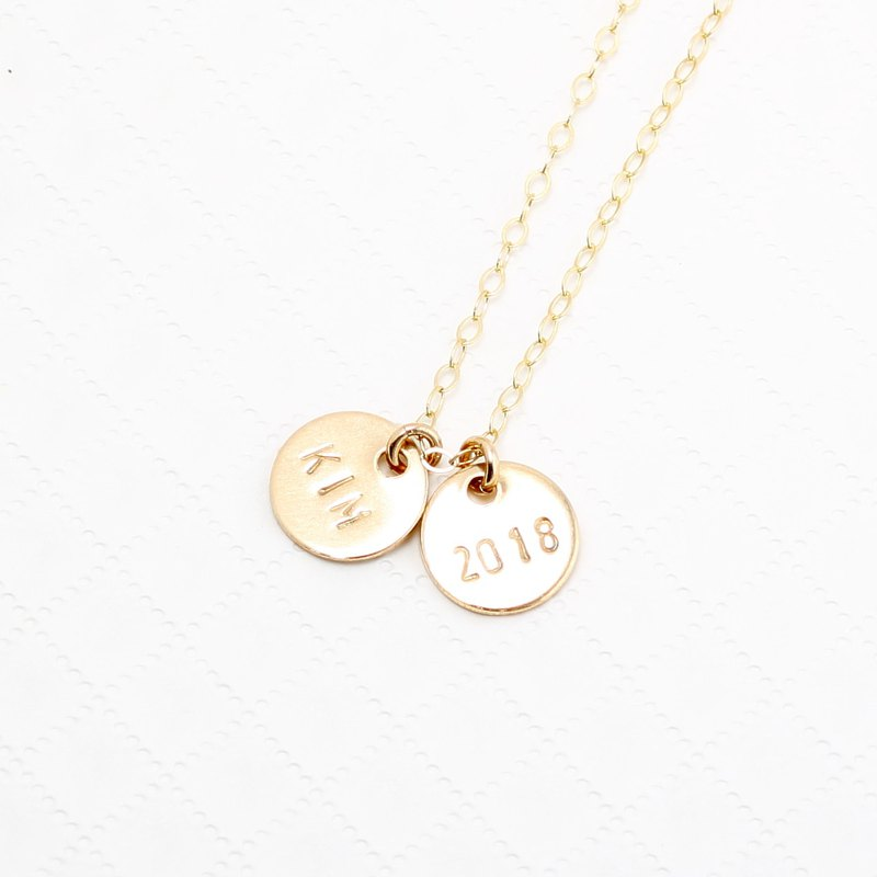 14kgf custom gold stamping letter x2 digit gold-filled necklace Valentines Day
