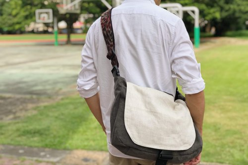 Luggage belt messenger bag _ white and stone washed coffee