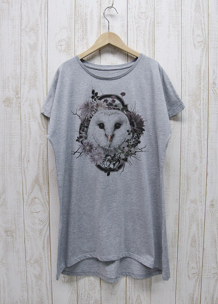 ronronBARNOWL one piece Tee Flower Frame (Heather Gray) / RPT 027 - GR