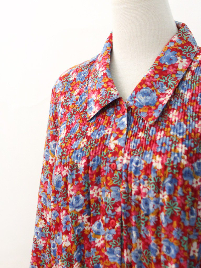 Vintage Japanese Red Floral Loose Long Sleeve Vintage Shirt Vintage Blouse