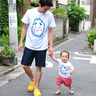 Hyottoko family 2 pair t-shirts Dad Son Men Baby Kids