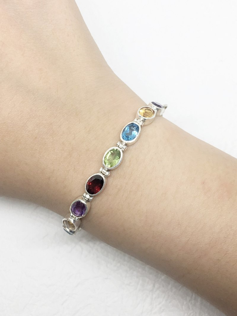 Multi - precious stones 925 sterling silver boutique bracelet Nepal handmade mosaic production