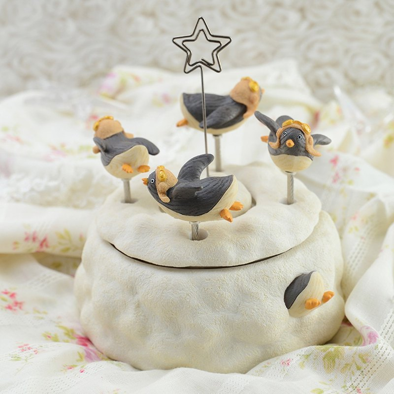 Penguin Pilots Music Box Birthday Gift Home Decoration Moon Gift