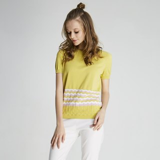 Seamless corrugated sweater (1701KT02YL-S)
