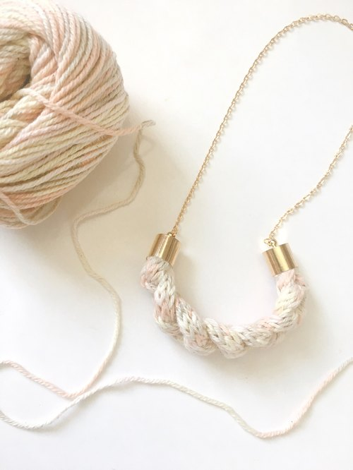 Knitted Yarn Necklace - Multi Grey Pale